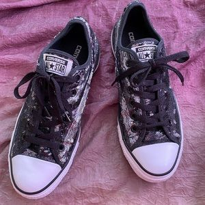 Converse All Stars Black Sequin Shoes